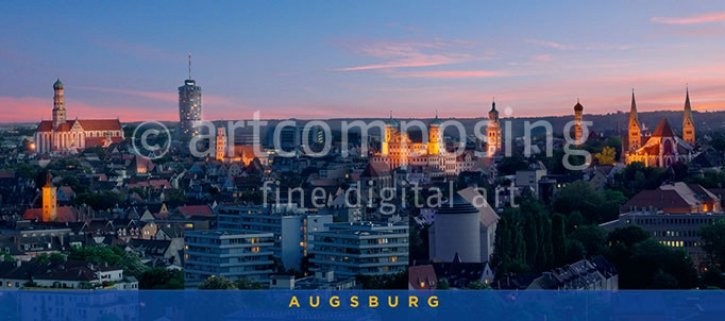 76-720 Augsburg - Stadtpanorama Abend (Magnet)